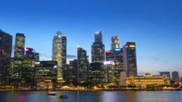 Singapore Skyline Water River Building Blue Sky